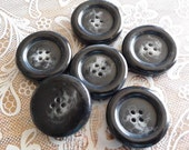 ON SALE - 6 Black Swirl Thick Chunky 4 Hole Large Buttons 1 1/8 inch