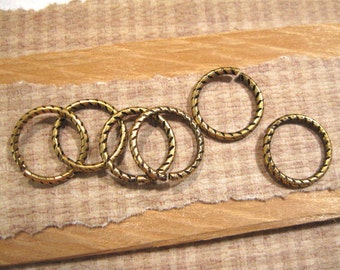Etched 16mm - 13 Gauge Jumprings in Antique Gold - 6 Count