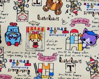 Children theme print Japanese fabric 50 cm by 106 cm or 19.6 by 42 inch Half Meter    (n321)
