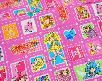 Suite Precure All Stars  fabric Anime print Japanese fabric fat quarter  (n431)
