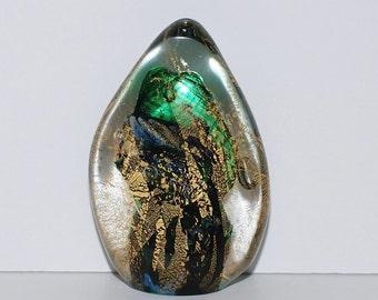 Art Glass Blue Green Gold Aventurine Reef Abstract Sculpture