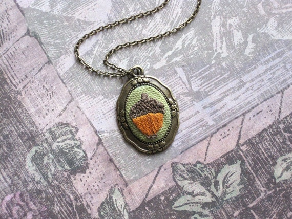 Hand Embroidered Bronze Acorn Necklace