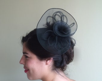 SINAMAY FASCINATOR , with Feathers, Black   /  F - 13