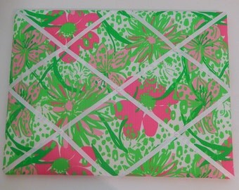 New memo board made with Lilly Pulitzer Pink In The Garden fabric
