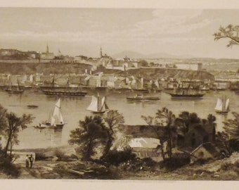 ANTIQUE QUEBEC CANADA View Original steel Engraving 1800s 12 3/8 x 9 1/2  in Ready to frame