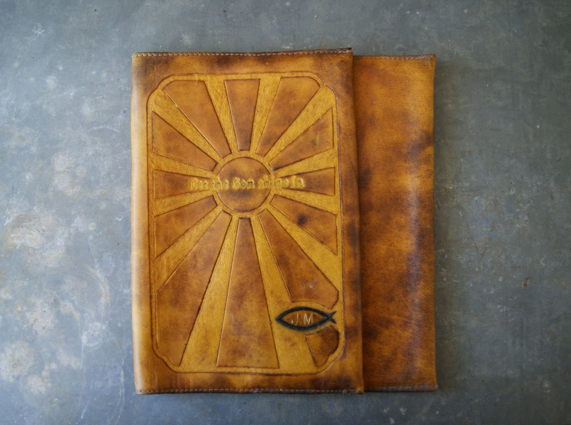 Leather Book Cover Design : Leather book cover tooled design bible size let the son