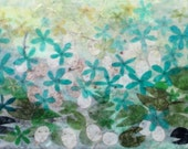 Turquoise Waters, encaustic painting, seed pods, silver dollars, lily pads, lotus