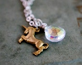 Unicorn Necklace Charm Silver Quartz Fairy Tale Rainbow