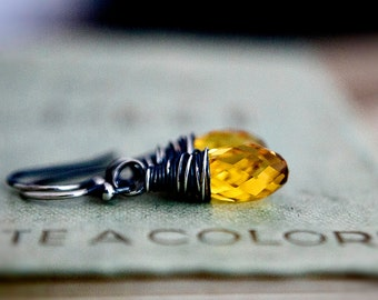 Swarovski Crystal Earrings, Yellow Dangle Earrings, Sterling Silver Wire Wrapped Earrings