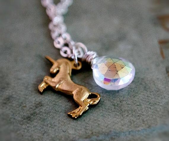 Unicorn Necklace Charm Silver Quartz Fairy Tale Rainbow