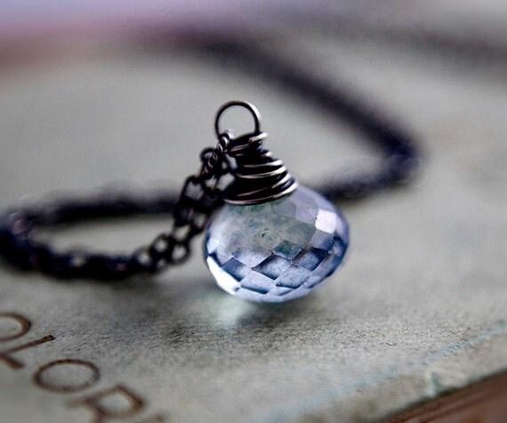 Blue Quartz Necklace Gemstone Jewelry Silver Denim Cornflower Pendant