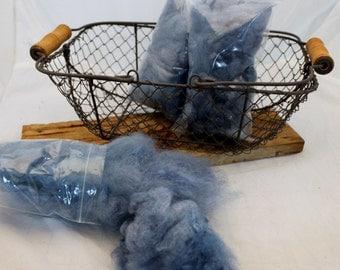 Wool, Blue Hand dyed Romney Wool, Romney Wool locks #625