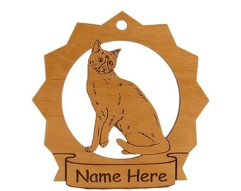 Snowshoe Cat Wood Ornament 087416 Personalized With Your Cat's Name