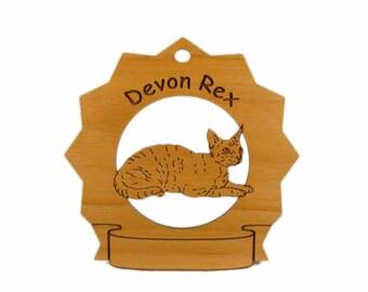 7157 Devon Rex Cat Personalized Wood Ornament