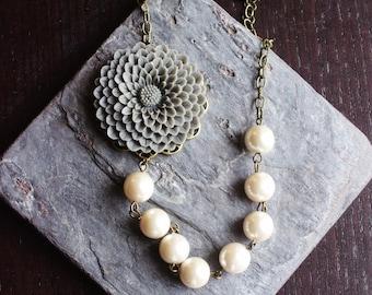 White glass pearl necklace, grey flower necklace, asymmetric necklace, flower necklace, bridal necklace, wedding jewelry