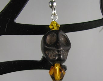 Black howlite skull with amber accents earrings on sterling silver wires
