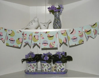 Cupcake Party Banner Scrappy Bunting