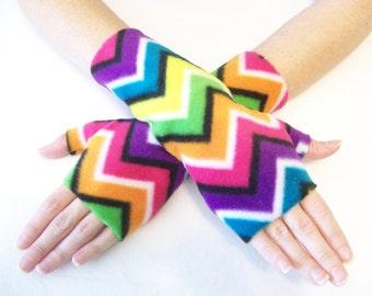 Fingerless Gloves Fleece / Bright Rainbow Chevron Stripe / You Choose Size