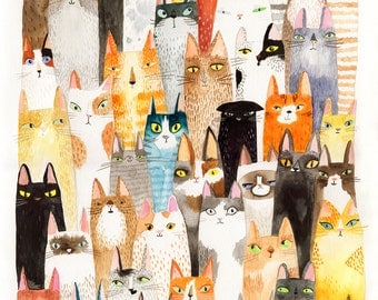Cat print - lots of colorful cats - A4 print