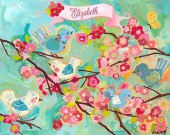Framed cherry blossom birdies giclee on canvas