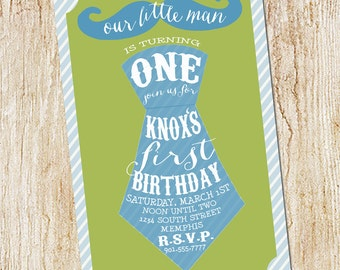 Mustache and Tie Party invitation- Boy's First Birthday Invitation- Digial File, print yourself or printed invitations Little Man