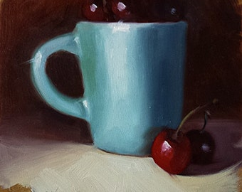 """Small Original Oil Painting, Blue Cup, Red Cherries, Still LIfe, 6 x 6"""" Unframed, Home Decor, Wall Art"""
