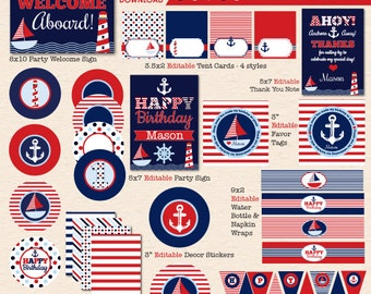 Sail Away Nautical Birthday Party - Red / Navy Blue - DIY/Printable Complete Party Pack - INSTANT DOWNLOAD!