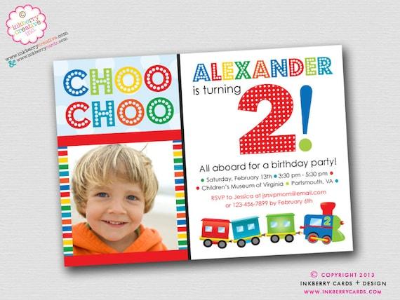 colorful choo choo train 2nd birthday party diy/printable, Party invitations