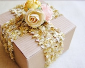 Gold Cream Tinsel Fringe Trim- novelty garland, specialty glitter trimming, holiday gift wrap, sparkly ribbon- 5 yds