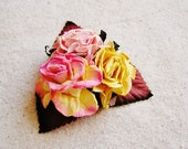 Strawberry Buttercream, Sugar Pink, Saffron Mixed bunch Vintage style Millinery Flower spray Bouquet- corsage, floral shabby chic-32514 OOAK