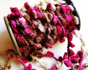Raspberry Cocoa Pom Pom Trim - wedding party craft supply, scrapbook embellishment, specialty gift wrap, novelty trim- 3 yds
