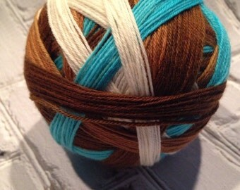Java blue too self striping sock yarn  dyed to order just for you