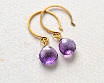 Passiflora Earrings - amethyst earrings, purple amethyst gemstone earrings, amethyst drop earrings, amethyst february birthstone, DE16