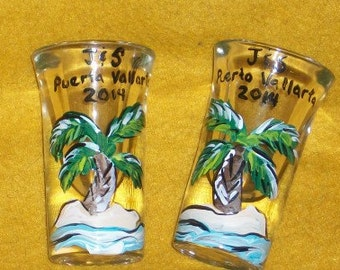 custom shot glasses palm tree set of 2  MUST HAVE beach honeymoon beach wedding cake topper