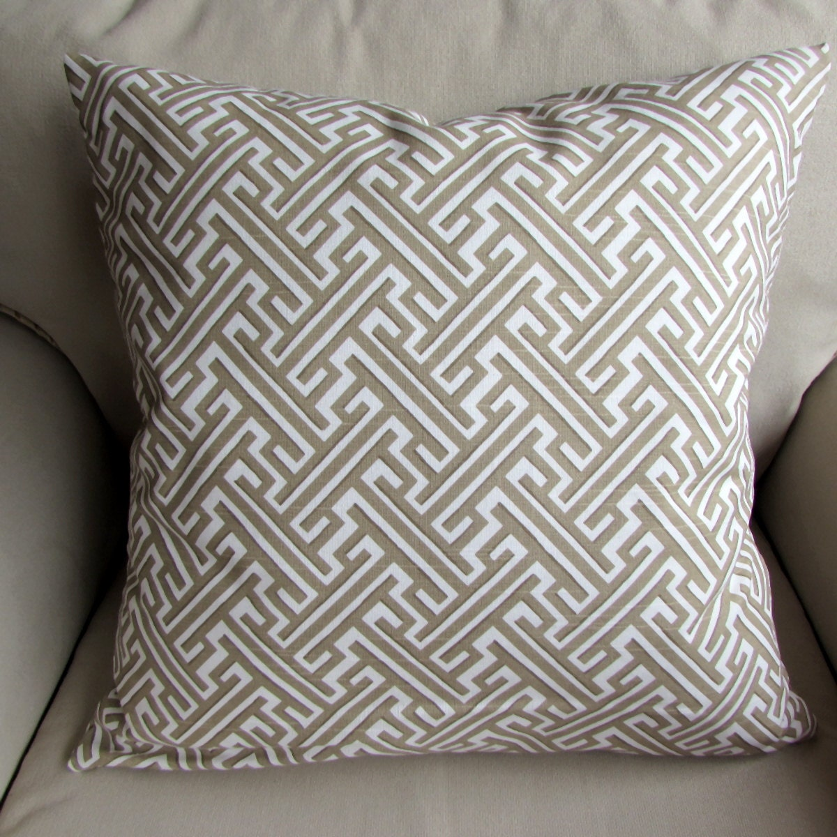 TRELLIS SAND designer fabric pillow cover 18x18 20x20 by yiayias