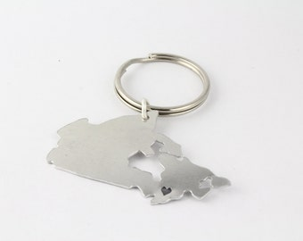 Personalized Canada Keychain - Hand Stamped Canadian Country Outline - Long Distance Romance Key Fob - Best Friend Gift