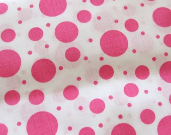 PINK Polka Dots - Cotton Yardage - Multiple Size Dots - Sewing Yardage Quilting Weight Cotton