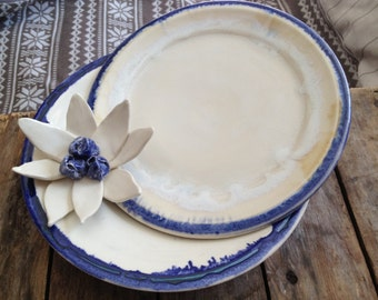 Cobalt and White Table Decor Serving Trio