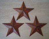"Primitive Tin Metal Barn Star Ornament Ornie Set/3 Rusty Black 5 1/2"" Craft Supplies"