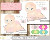 Printable Baby Shower Game Girl, Pink Pin the PACI on Baby Game - Instant Download - PRINTABLE PDF Files - Diy - You Print