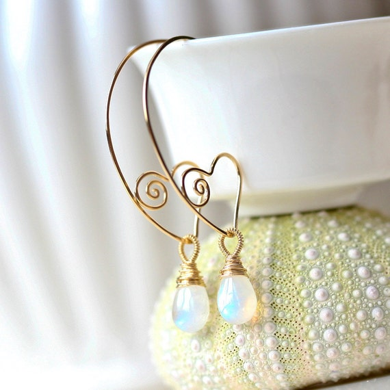 Heart Within - Sterling Gold Filled Wire Sculpted Hoops with Gold Filled Wrapped Moonstone