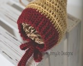 SALE*** RTS 0-3mo Crochet Red/Gold Bonnet Photography Prop Christmas