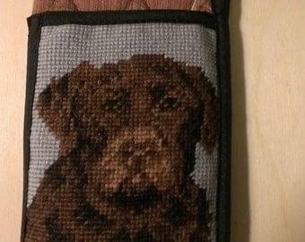 Chocolate Lab Labrador Retriever needlepoint eyeglass case