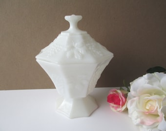 Milk Glass Grape Motif Octagonal Jar With Lid - Vintage Chic