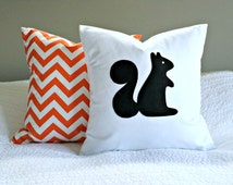 Modern Squirrel Pillow Cover -black and white