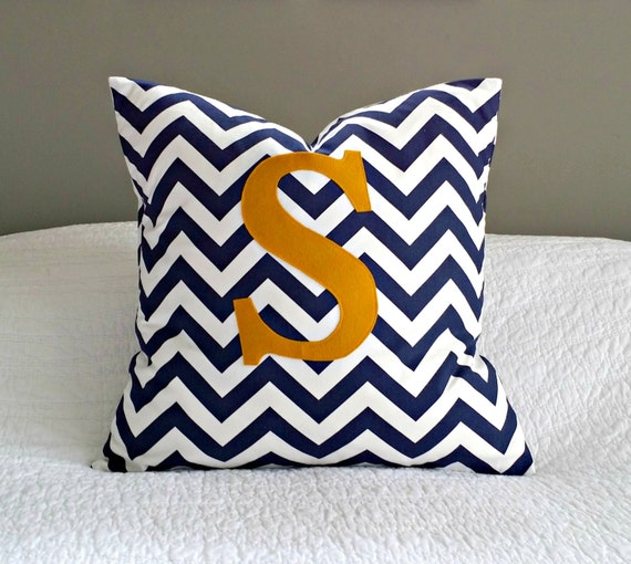 Navy and White Chevron Pillow Cover with Gold Monogram