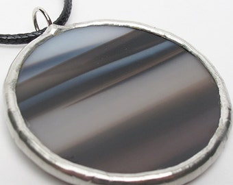 Darkening Sky - Stained Glass Pendant with Black Cord