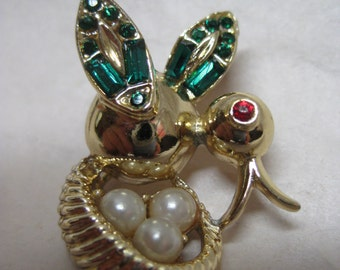 Bird Nest Brooch Rhinestone Pearl Green Red Gold Vintage Pin