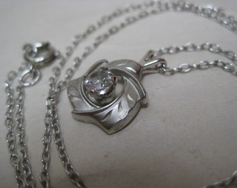 Sterling CZ Necklace Vintage Pendant Clear 925 Silver