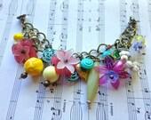 CHARM-ing Bracelet Vintage & New Floral Beaded Lucite